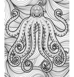 zentangle octopus in sea print for adult vector image