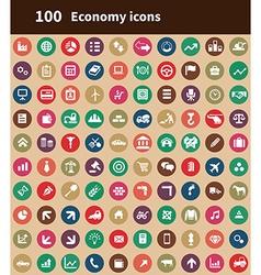100 economy icons vector