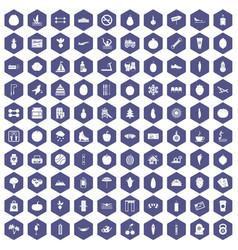 100 wellness icons hexagon purple vector