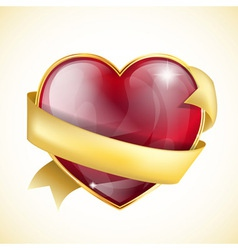 red glass heart bow vector image