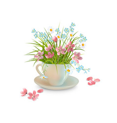 grass and flowers in the cup vector image