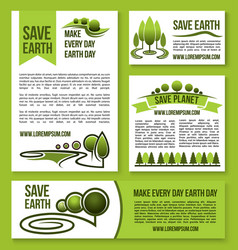 Save earth and planet nature ecology design vector