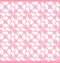 seamless white lace pattern on pink background vector image