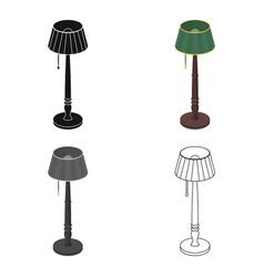 Wooden floor lamp icon in cartoon style isolated vector