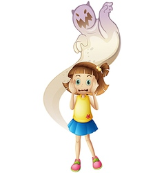 A ghost scaring a young girl vector image