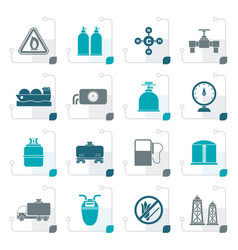 Stylized natural gas objects and icons vector