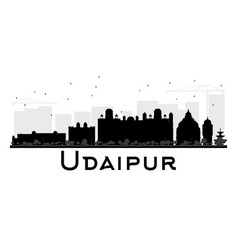 Udaipur city skyline black and white silhouette vector
