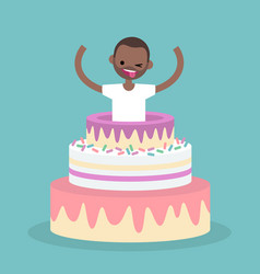 Young black character jumping out of a cake flat vector