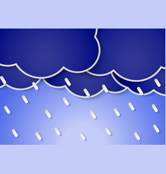 Paper rain clouds and rains vector image