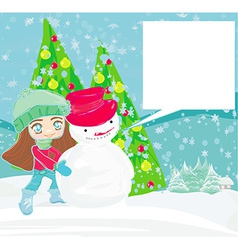 Little girl and snowman card vector image