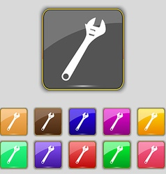 Wrench icon sign set with eleven colored buttons vector