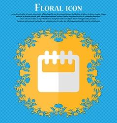 Notepad calendar floral flat design on a blue vector