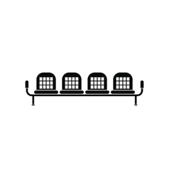 Airport seats black simple icon vector