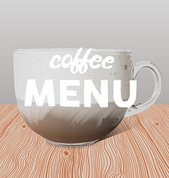 Realistic transparent glass cup of cappuccino on vector