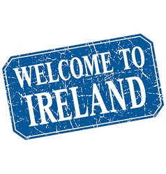 Welcome to ireland blue square grunge stamp vector