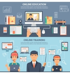 Online education training banner set vector