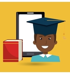 Graduate online education isolated icon design vector