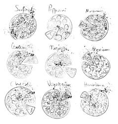 Set of pizza slice - italian mexican margarita vector