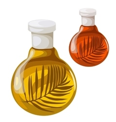 Bottle of oil with herbs isolated vector
