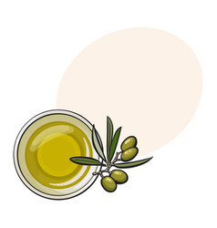 Bowl of natural oil massage decorated with fresh vector