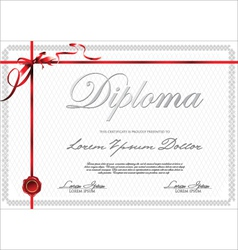 Certificate template with red ribbon vector