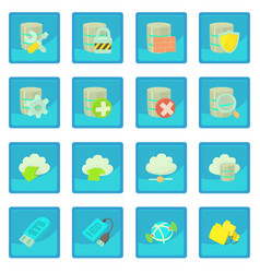 Database symbols icon blue app vector