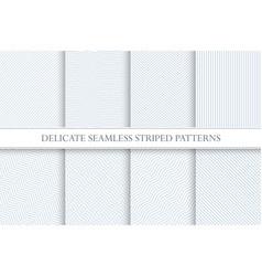 Delicate seamless striped patterns decorative vector
