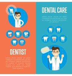 Dental care banners with male dentist vector