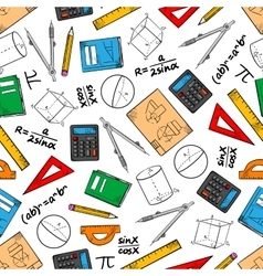 Education seamless pattern of school supplies vector image