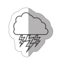 figure cloud with ray icon vector image vector image