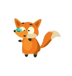 Fox With Butterfly On The Nose vector image vector image