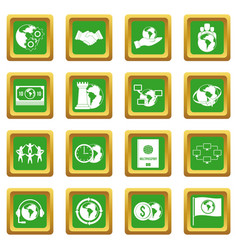 Global connections icons set green vector
