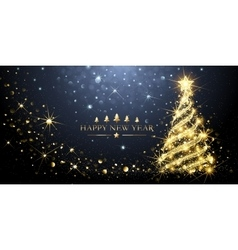 Greeting card golden christmas tree vector