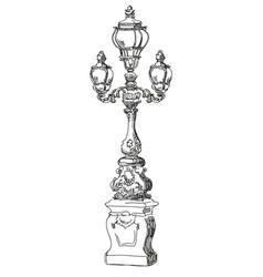 Hand drawing street lamp in paris vector