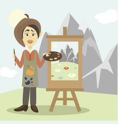 Hand drawn painter vector