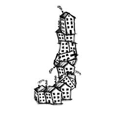 Letter j made from houses alphabet design vector