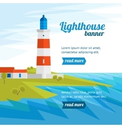 Lighthouse banner flat design style vector