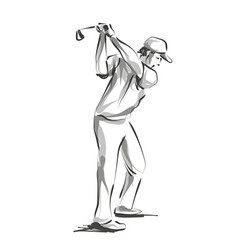 line sketch golfer vector image vector image