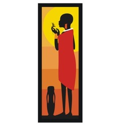 Masaj Woman standing against african sunset- vector image