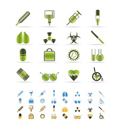 Medical themed icons and warning-sign vector