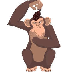 monkey with a grenade vector image vector image