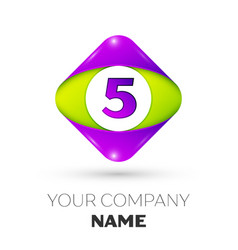 Number five symbol in the colorful rhombus vector