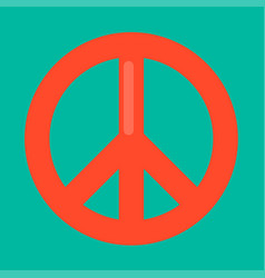 Peace sign in red color isolated on green vector