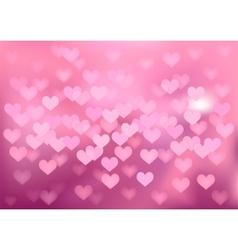 Pink festive lights in heart shape background vector image vector image