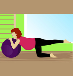 pregnant woman on fitness ball in gym vector image
