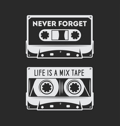 Retro audio cassette t-shirt design vector