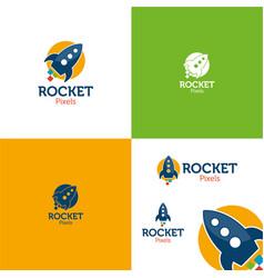 rocket pixels vector image