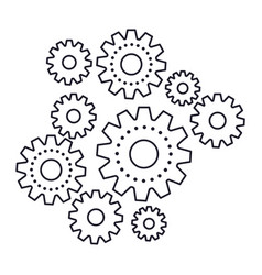 set gear machinery monochrome silhouette on white vector image