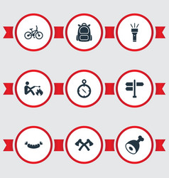 Set of simple camp icons vector