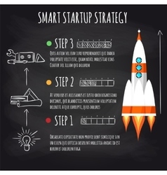 Startup concept with spaceship on blackboard vector